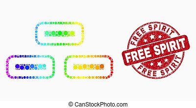 Vector Rainbow Colored Dotted Bricks Icon and Grunge Free Spirit Seal