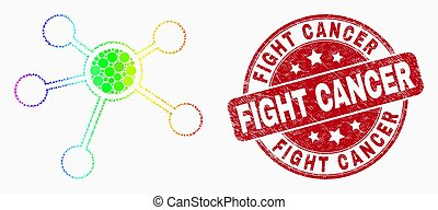 Vector Rainbow Colored Dotted Links Icon and Scratched Fight Cancer Seal