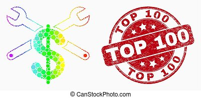 Vector Rainbow Colored Dotted Repair Price Icon and Grunge Top 100 Stamp