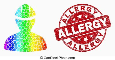 Vector Rainbow Colored Dotted Worker Icon and Scratched Allergy Stamp