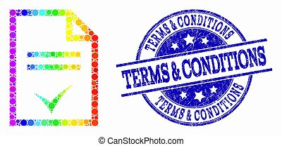 Vector Rainbow Colored Pixel Agreement Page Icon and Distress Terms & Conditions Stamp Seal