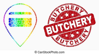 Vector Rainbow Colored Pixel Bank Card Pointer Icon and Scratched Butchery Seal