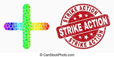 Vector Rainbow Colored Pixel Cross Icon and Distress Strike Action Stamp Seal