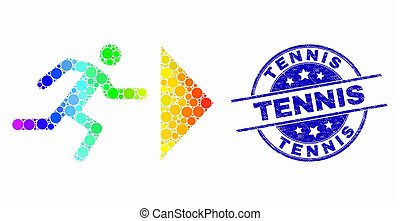 Vector Rainbow Colored Pixel Exit Person Icon and Distress Tennis Stamp Seal