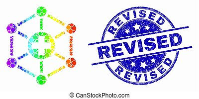 Vector Rainbow Colored Pixel Medical Links Icon and Grunge ...