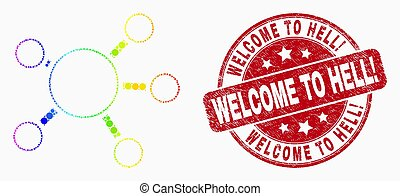 Vector Rainbow Colored Pixel Node Links Icon and Grunge Welcome to Hell! Stamp Seal