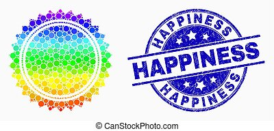 Vector Rainbow Colored Pixel Round Seal Stamp Icon and Scratched Happiness Stamp