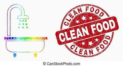 Vector Rainbow Colored Pixel Shower Bath Icon and Scratched Clean Food Stamp
