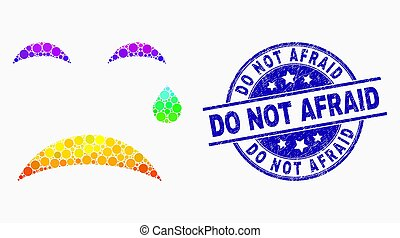 Vector Rainbow Colored Pixelated Crying Smiley Icon and Scratched Do Not Afraid Watermark