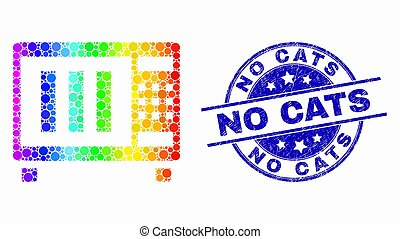 Vector Rainbow Colored Pixelated Microwave Oven Icon and Scratched No Cats Watermark
