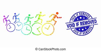 Vector Rainbow Colored Pixelated People Run Over Clocks Icon and Distress Void If Removed Stamp Seal