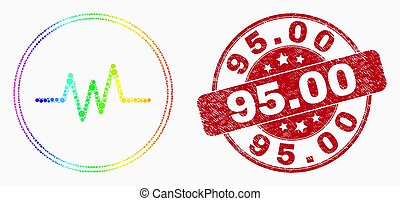 Vector Rainbow Colored Pixelated Pulse Signal Icon and Scratched 95.00 Watermark