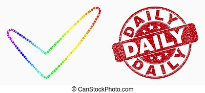 Vector Rainbow Colored Pixelated Yes Tick Icon and Grunge Daily Watermark