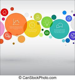 Vector rainbow diagram infographic template with various descriptive circles