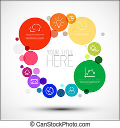 Vector rainbow diagram infographic template with various descriptive circles