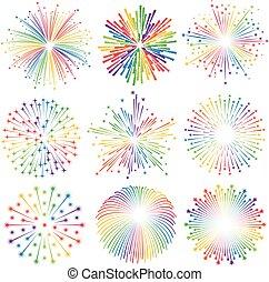 Vector rainbow Fireworks Illustrations set