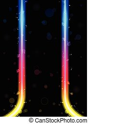 Rainbow Lines Border with Sparkles and Swirls. - Vector -...