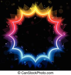 Rainbow Star Border with Sparkles and Swirls.