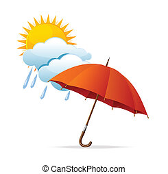 Vector rainy weather icon with clouds and umbrella and sun