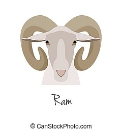 Vector ram head isolated. Flat, cartoon style object
