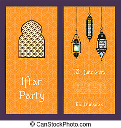 Vector Ramadan Iftar party invitation card template with...