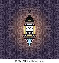 Vector Ramadan illustration with hanging lantern