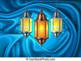 Vector ramadan kareem lantern realistic curtain
