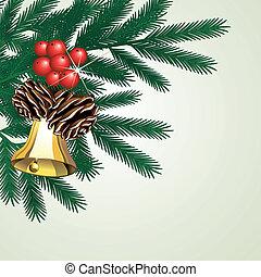 vector, ramita, de, árbol, con, conos, y, campana