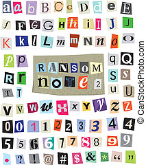 Vector cut newspaper and magazine letters, numbers, and symbols. Mixed upper case and lower case and multiple options for each one. Perfect design elements for a ransom note, creative typography, and more. EPS 10.