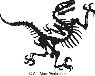 Vector silhouette of raptor dinosaur fossil.