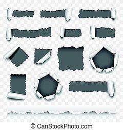 vector, rasgado, conjunto, papel