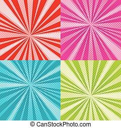 vector, raster, set, kunst, achtergronden, knallen, halftone, stralen, komisch, zonnestraal, gradients