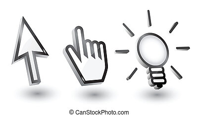 vector, ratón, cursores, (pointers):, flecha, mano, bombilla, con, sombra