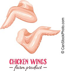 chicken wings - Vector raw chicken wings . Icon meat birds ...