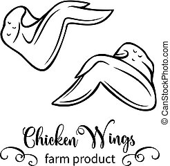 chicken wings - Vector raw chicken wings . Retro hand drawn ...
