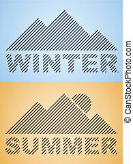 vector, rayado, invierno, y, verano, montaña