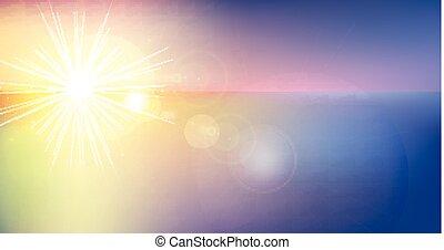 vector, rayos, telón de fondo., colorido, gradiente, panorama, resumen, cielo, luz del sol, confuso, fondo., gráfico, ilustración, mar, diseño, bandera, su, crepúsculo