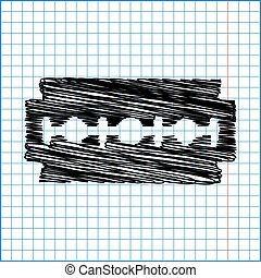 Vector razor blade icon with pen effect on paper