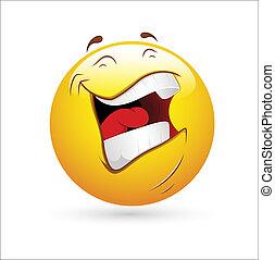 vector, reír, smiley, icono