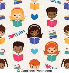 Vector Reading Kids Seamless Pattern