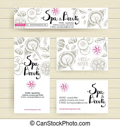 Vector ready design template for organic cosmetic shop, spa center or relax center. Site header, business card, brochure and flyer. Sketchy engraving style, pastel natural colors.