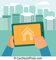 Vector real estate concept - searching house for rent - icon in flat style