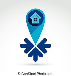 Vector real estate - illustration of a house with arrows.