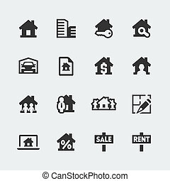 Vector real estate mini icons set