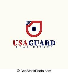 Vector real estate shield house initial Letter U Logo design template. USA