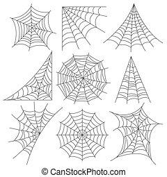 vector, realista, araña, foto, iconos, tela, conjunto