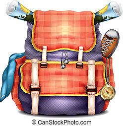 vector, realista, viaje, mochila