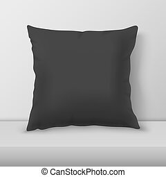 Vector Realistic 3d Black Pillow Closeup on Table, Shelf...