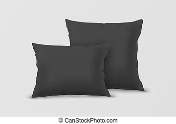Vector Realistic 3d Black Pillow Set Closeup Isolated on...