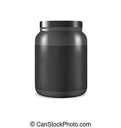 Vector Realistic 3d Black Plastic Jar, Can with Lid Closeup...